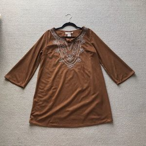 NWT Flying Tomato Brown suede dress